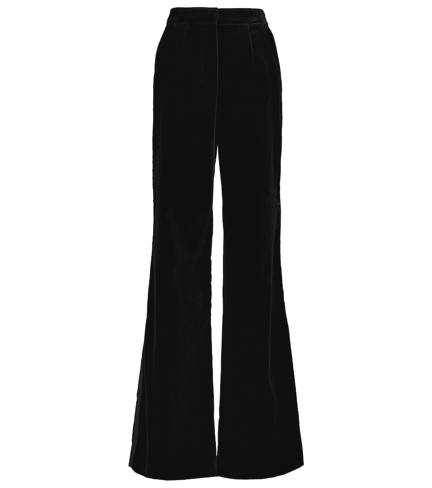 High-rise wide velvet pants