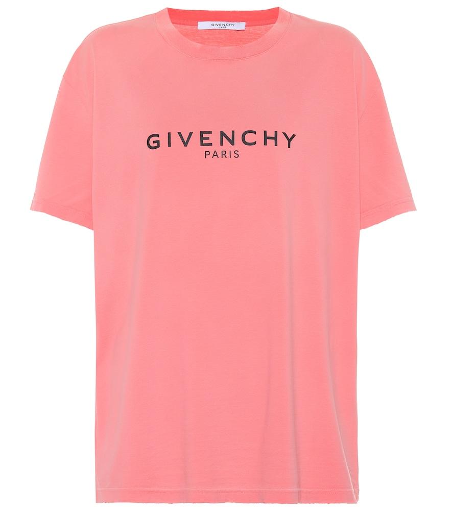 Logo Printed Cotton T-Shirt, Pink
