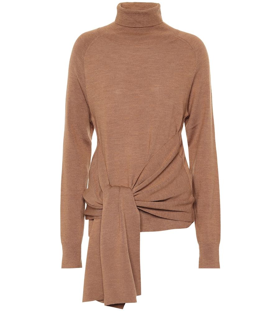 Jw Anderson Tie-Front Wool Turtleneck Sweater In Brown
