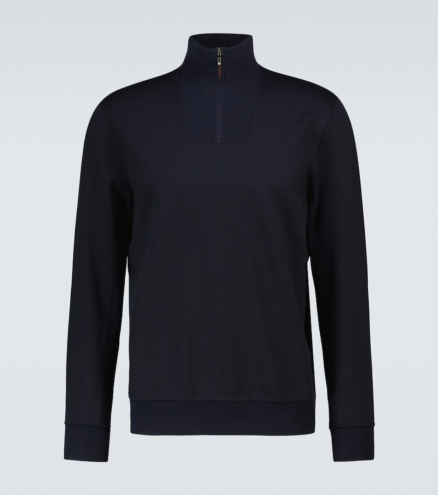 Loro Piana HIGH-NECK WOOL-BLEND SWEATSHIRT