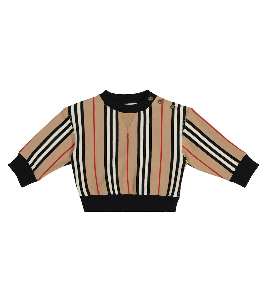 Burberry Baby Icon Stripe Cotton Jersey Sweatshirt In Beige