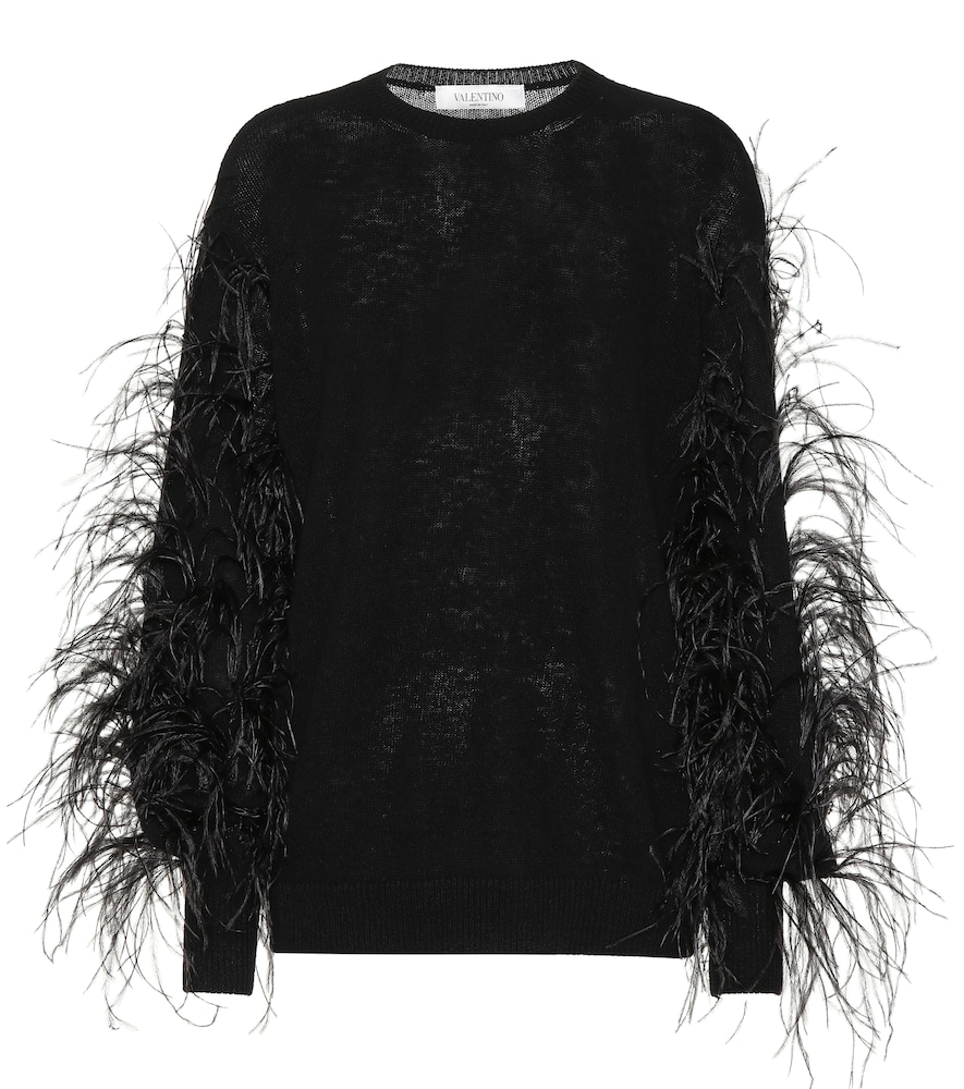 VALENTINO FEATHER-TRIMMED SWEATER
