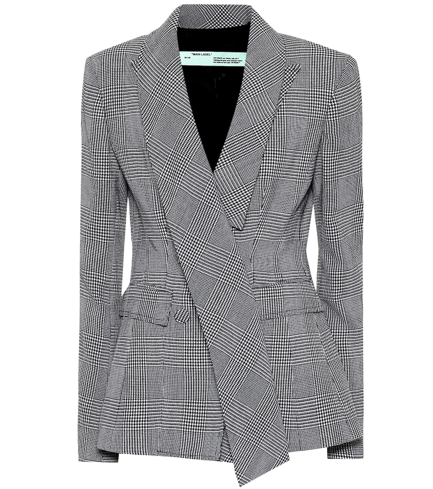 Fitted Houndstooth Blazer in Black