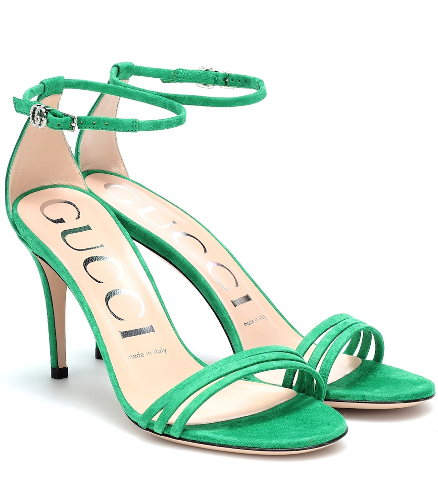 Gucci Marmont Suede Sandals In Green
