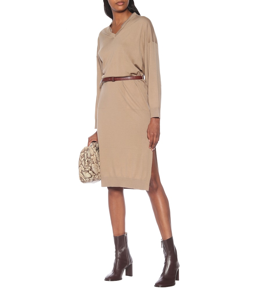 Belted wool and cashmere dress by Brunello Cucinelli