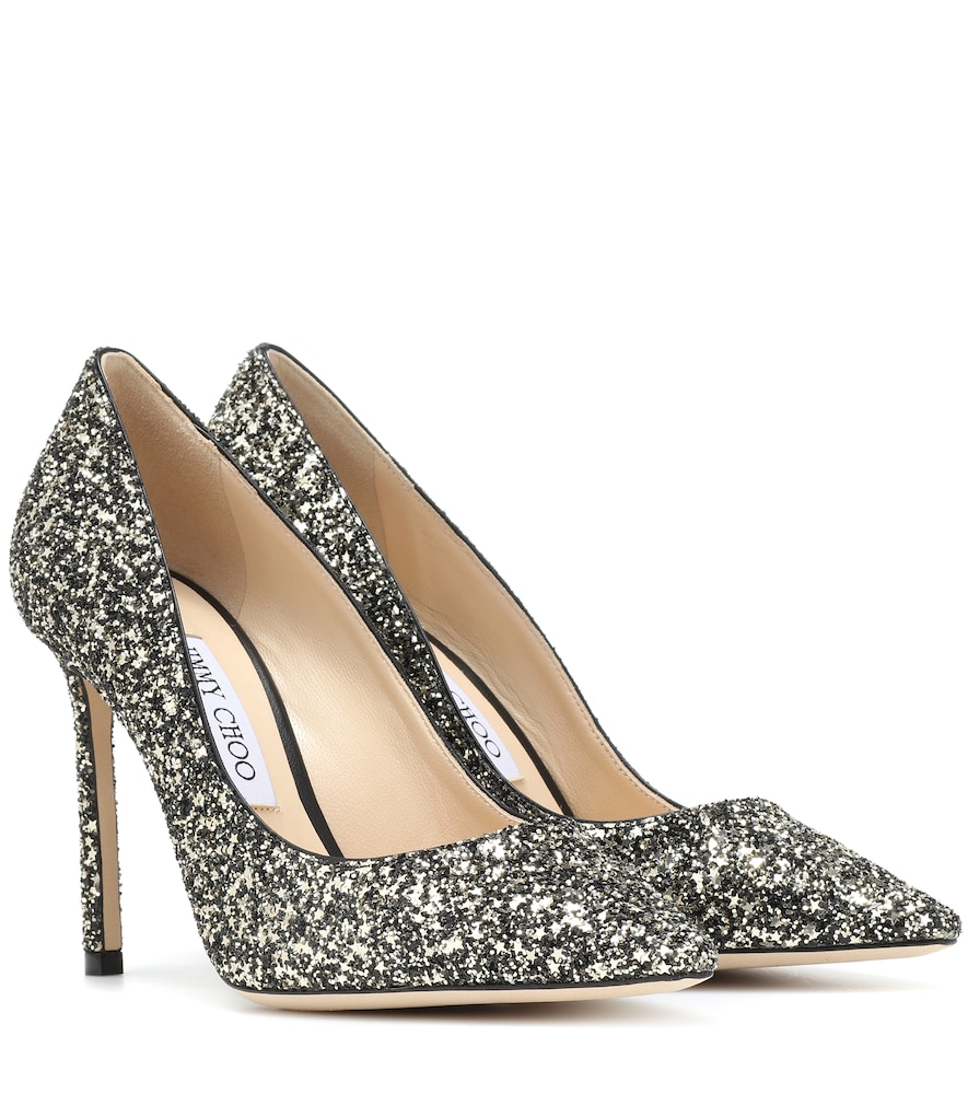 Romy 100 High Heeled Glittery Pumps in Black