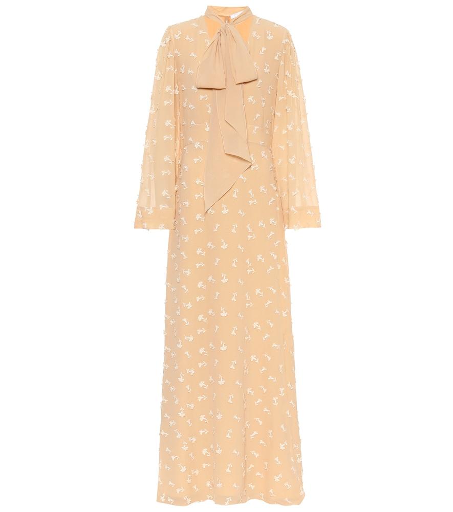 Robe longue en crêpe de soie à col lavallière