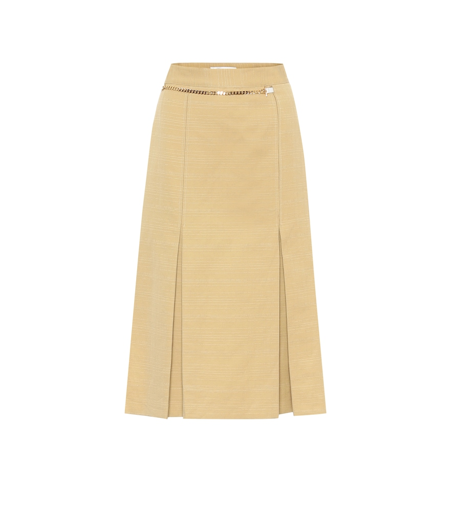 Belted linen and cotton midi skirt
