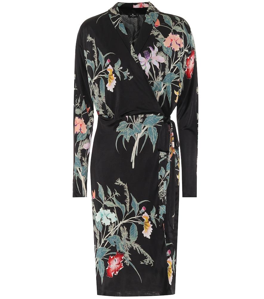 Etro Floral Jersey Wrap Dress In Black
