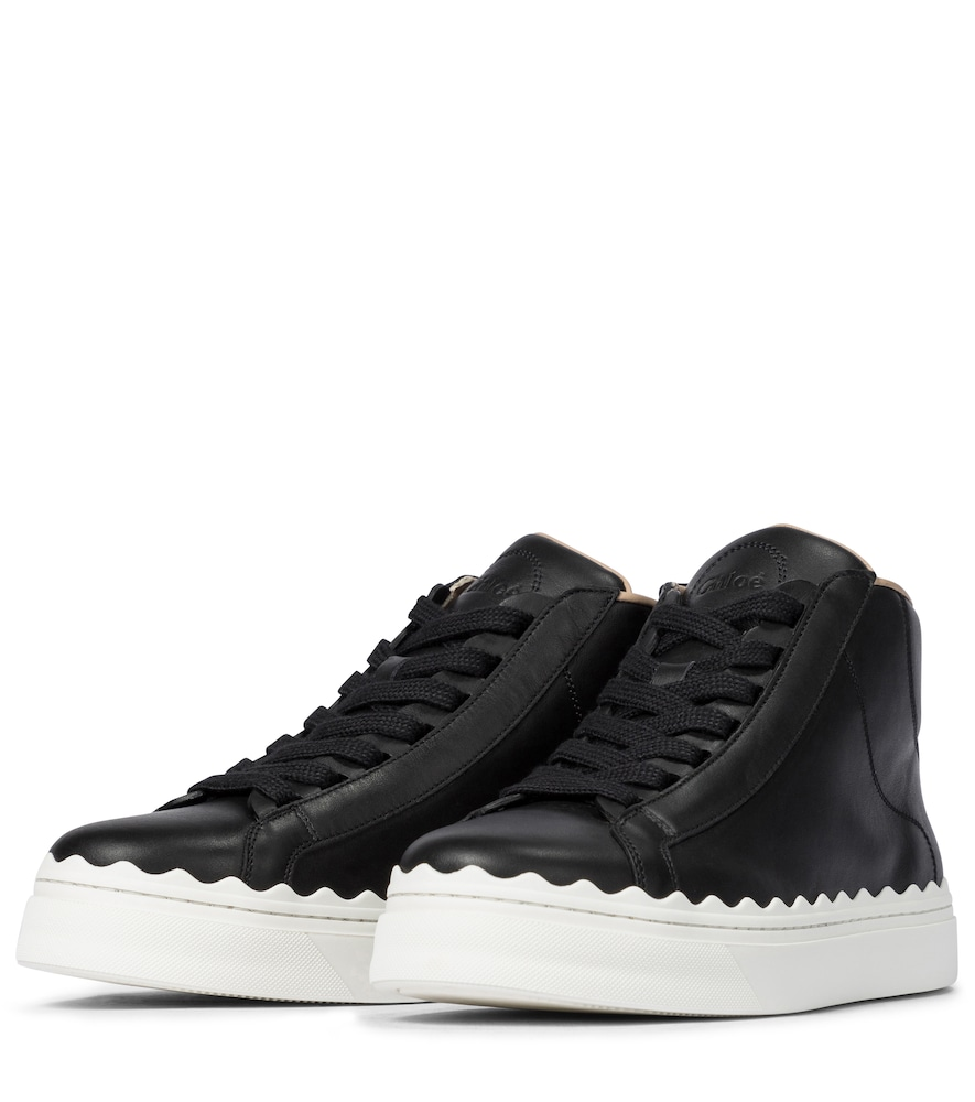 CHLOÉ Leathers LAUREN LEATHER HIGH-TOP SNEAKERS