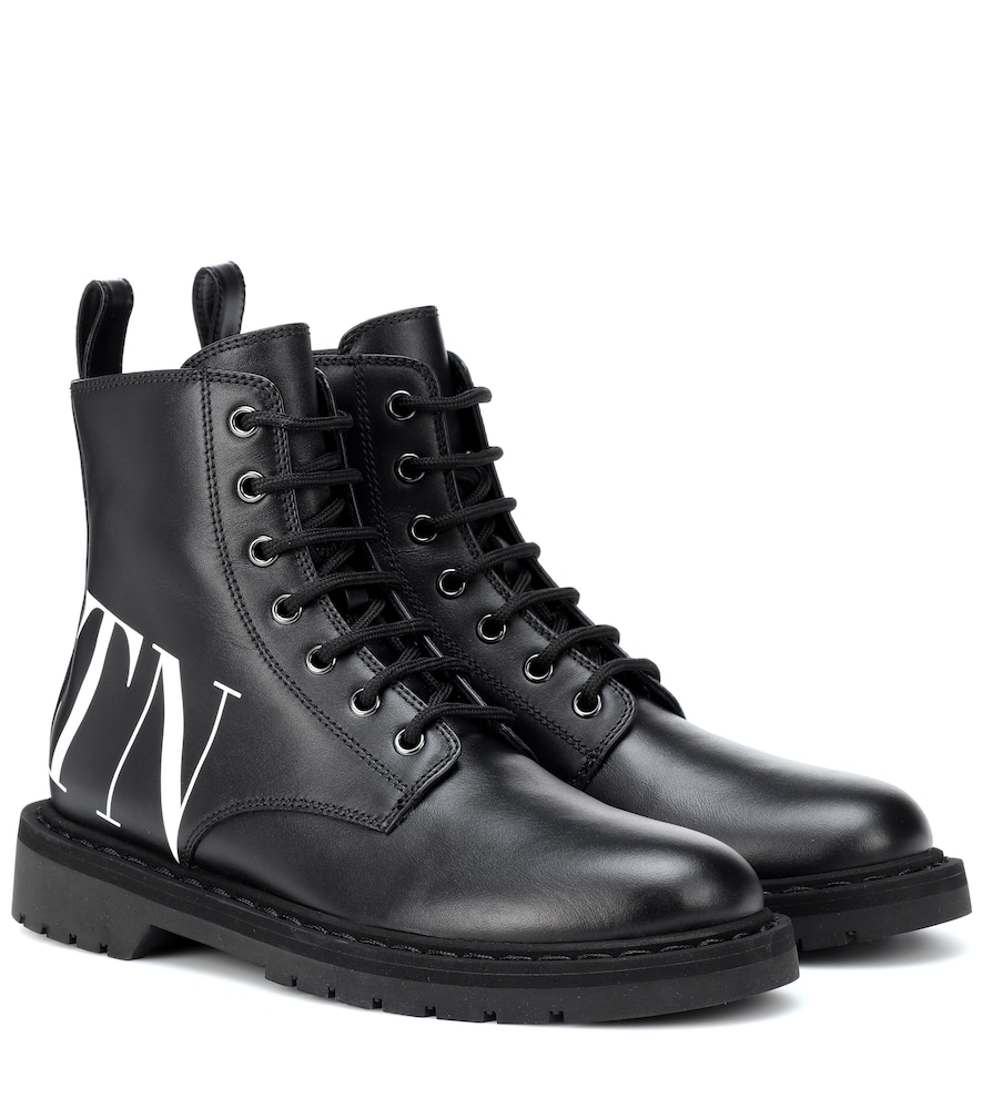 Valentino Vltn Lace-Up Leather Ankle Boots In Black