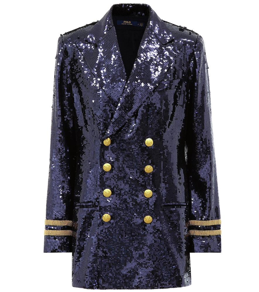 POLO RALPH LAUREN Double Breasted Sequin Blazer in Blue
