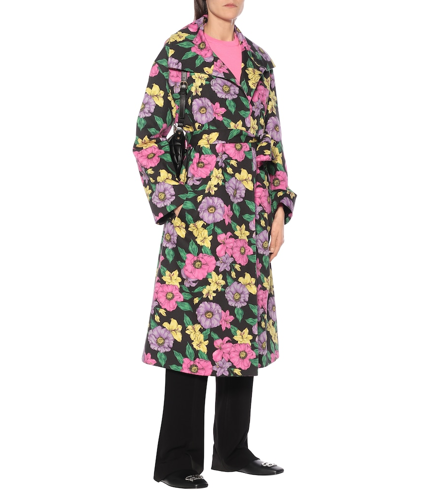 Floral cotton-drill trench coat by Balenciaga