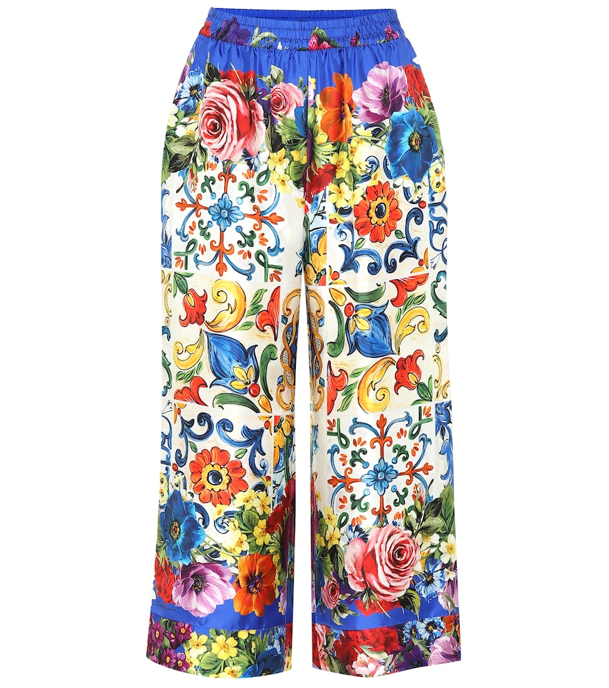 Cropped Printed Silk-Twill Wide-Leg Pants, Multicoloured