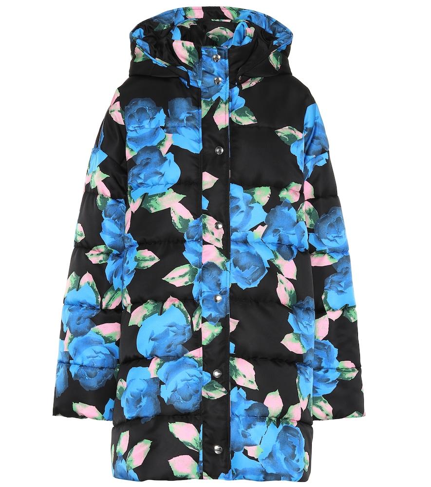 Floral-Printed Puffer Jacket in Black