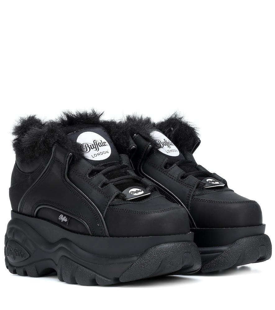 + Buffalo London Faux Fur-Lined Leather Platform Sneakers, Black