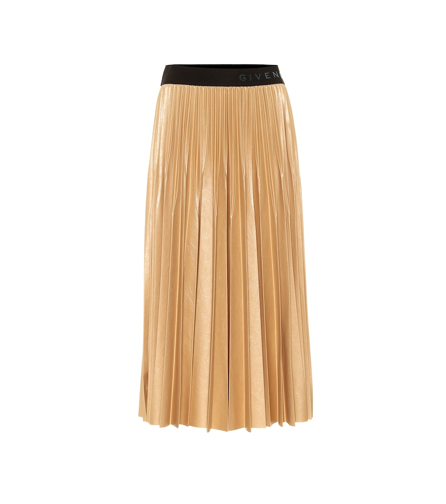 Givenchy Logo-waist Pleated-faille Midi Skirt In Gold