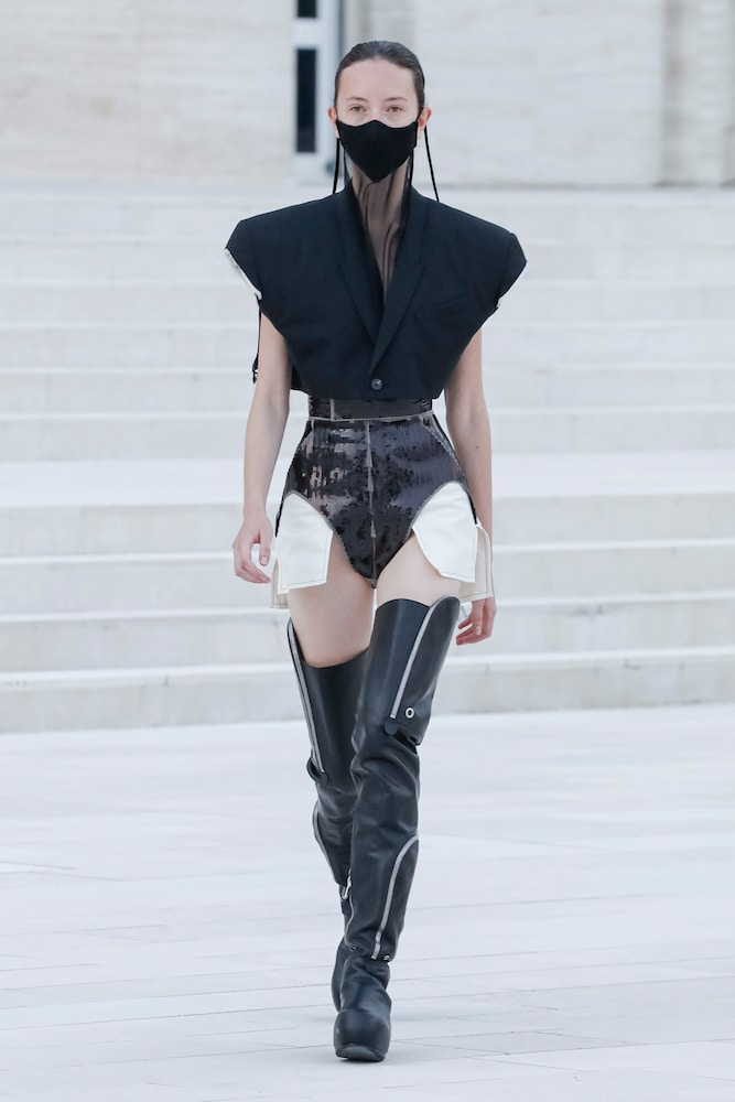 RICK OWENS Cottons HIGH-RISE SEQUINED SHORTS