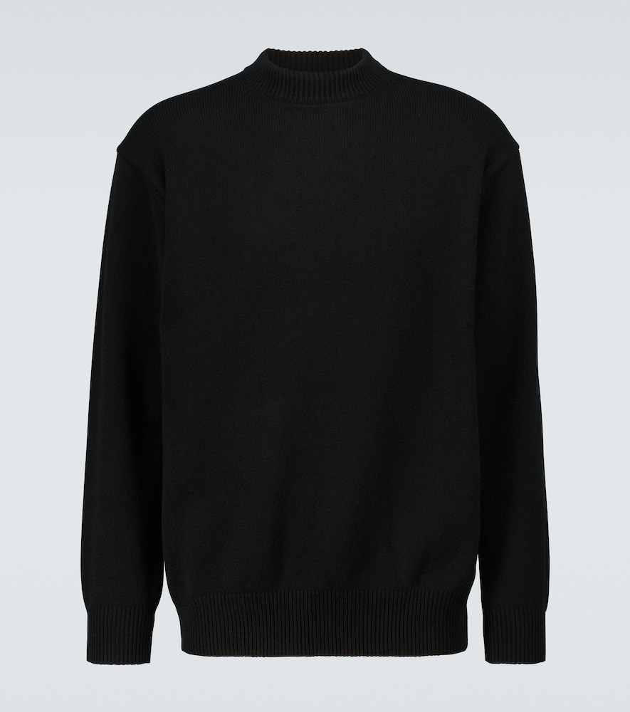 Logo embroidered wool sweater