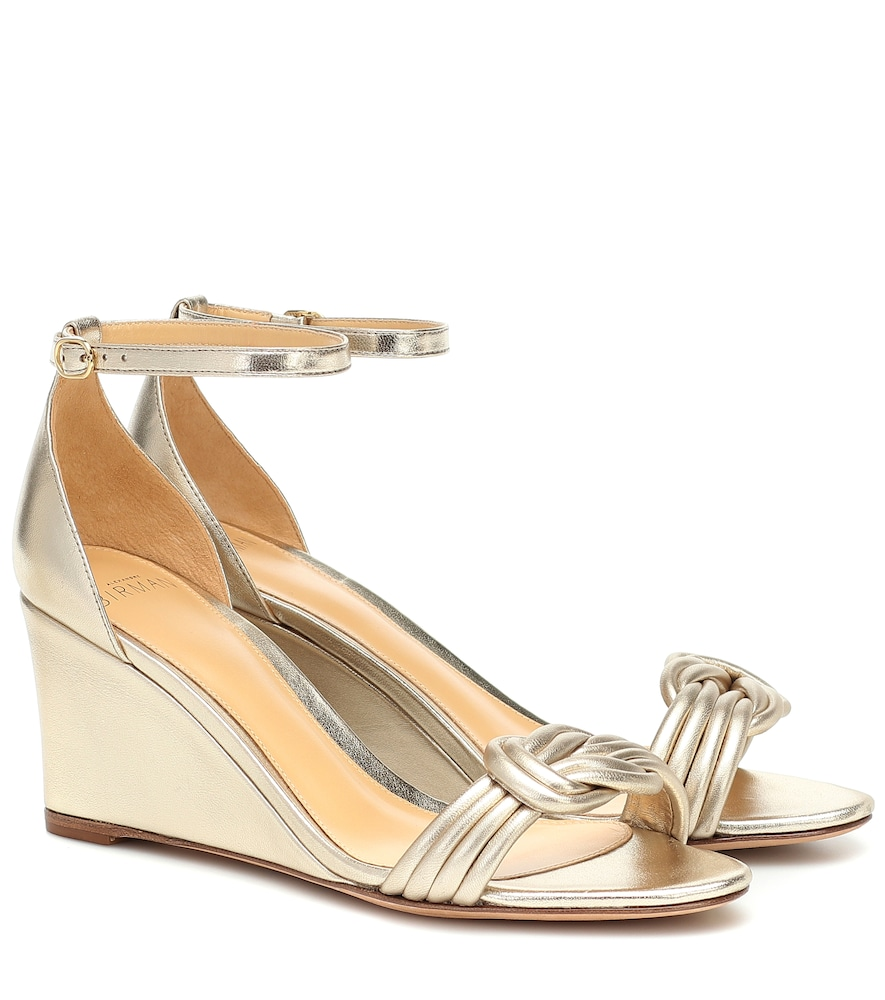 Sandales compensées Vicky 85 en cuir métallisé - Alexandre Birman - Modalova
