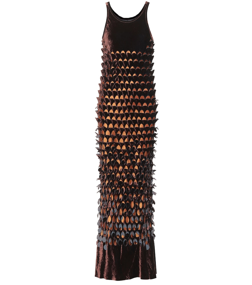 Velvet and silk maxi dress by Maison Margiela