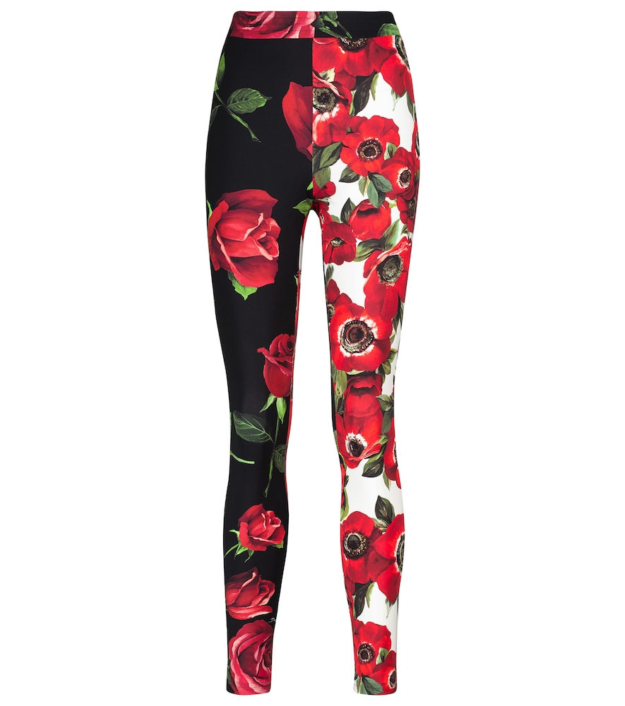 Dolce & Gabbana Jersey Leggings With Anemone And Rose Print In Red