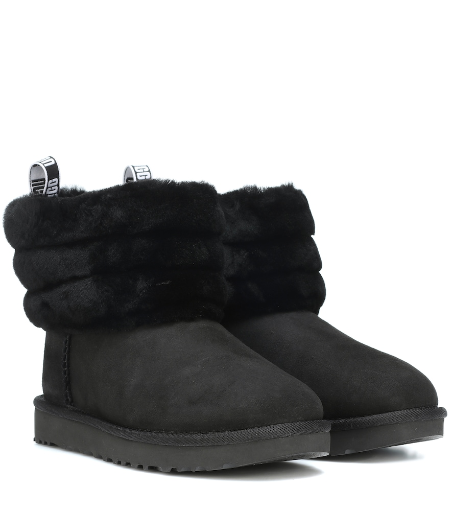 b99a7cd9635 Women'S Fluff Mini Quilted Round Toe Suede & Sheepskin Booties in Black