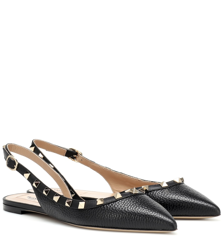Valentino Rockstud Slingback Grained-Leather Flats In 0No Black