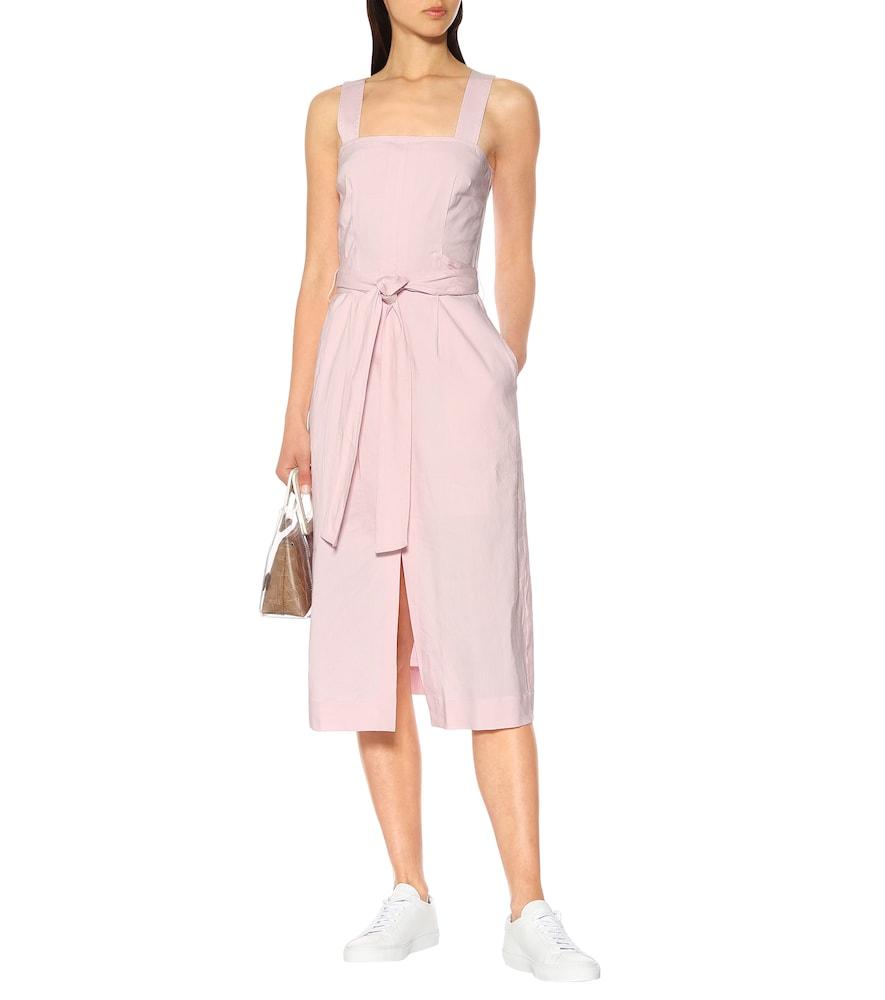Belted linen-blend midi dress by Vince