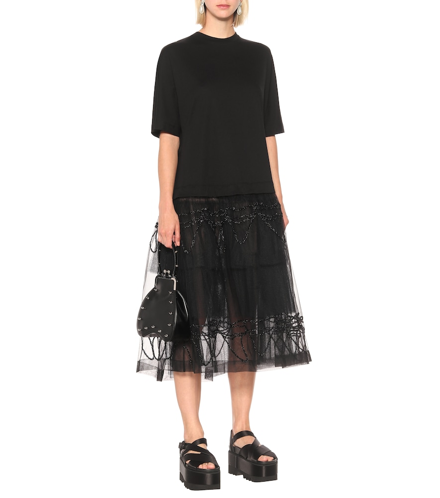 Tiered cotton midi dress by Simone Rocha
