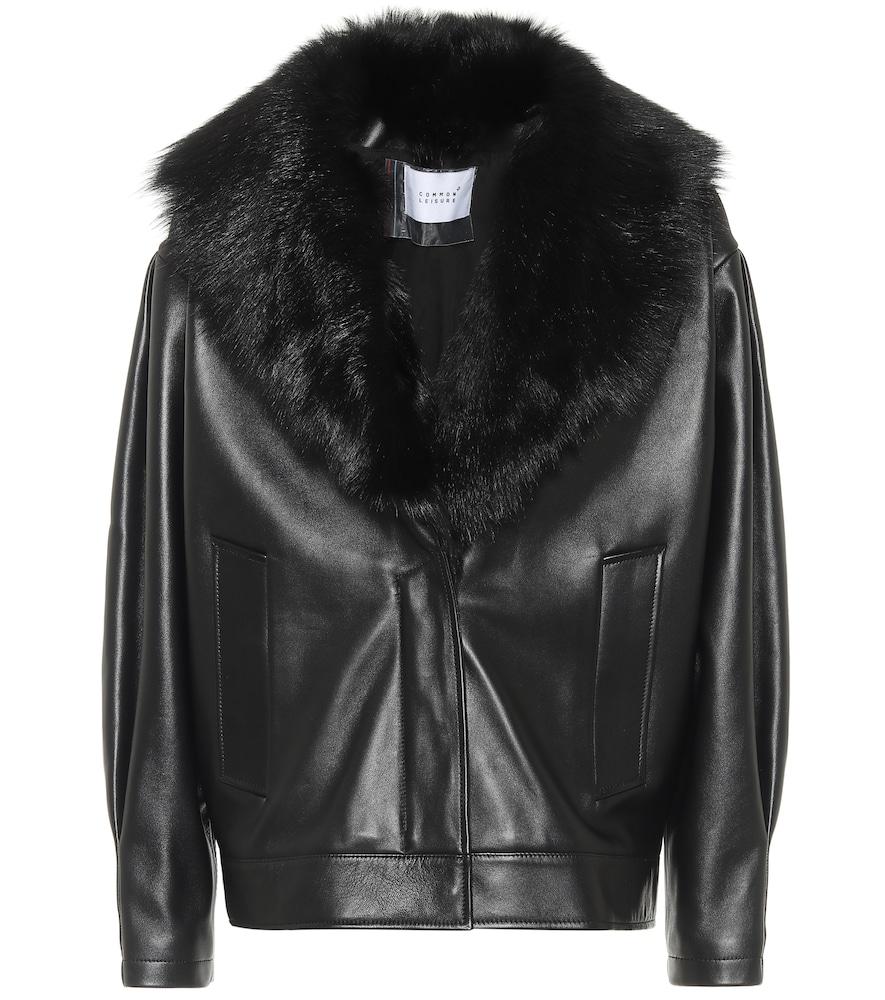 Faux fur-trimmed leather jacket