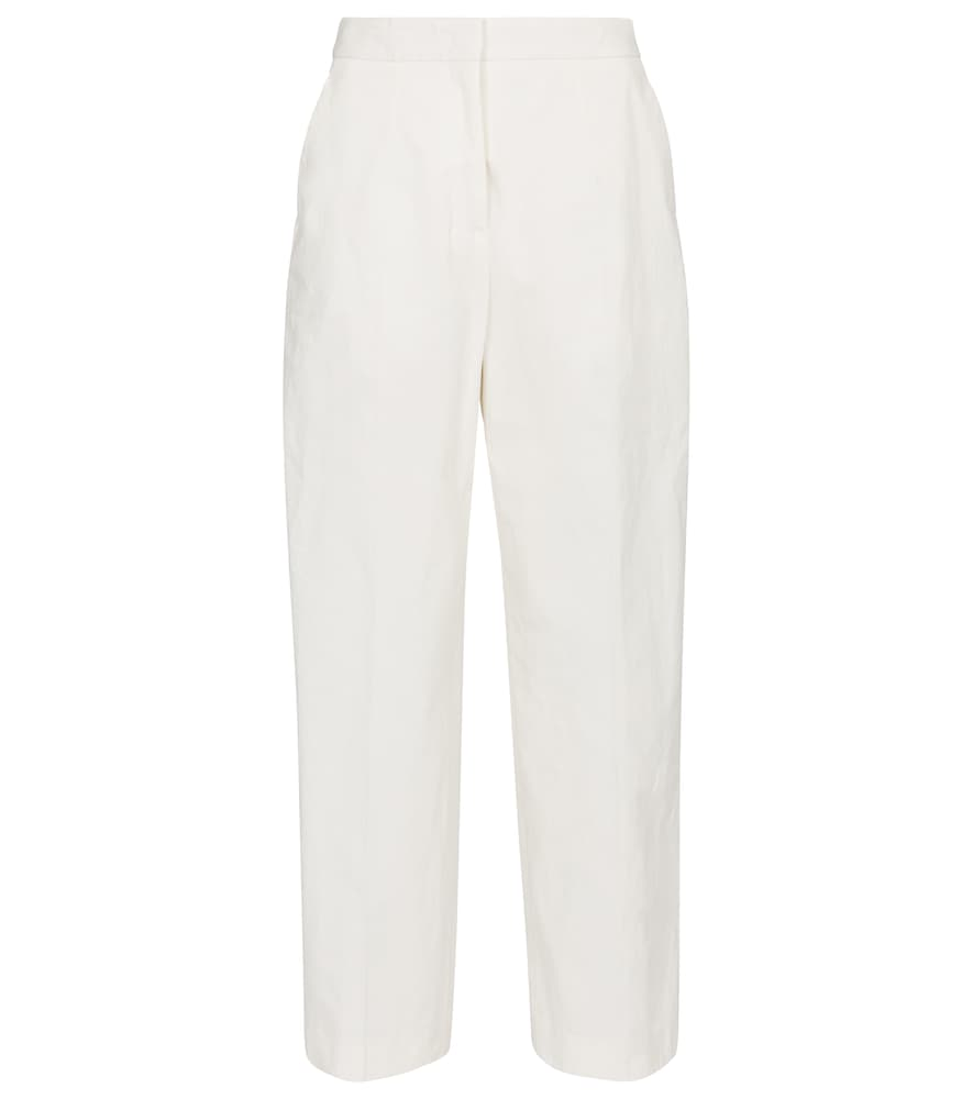 Jil Sander High-rise Straight Cotton-blend Pants In White