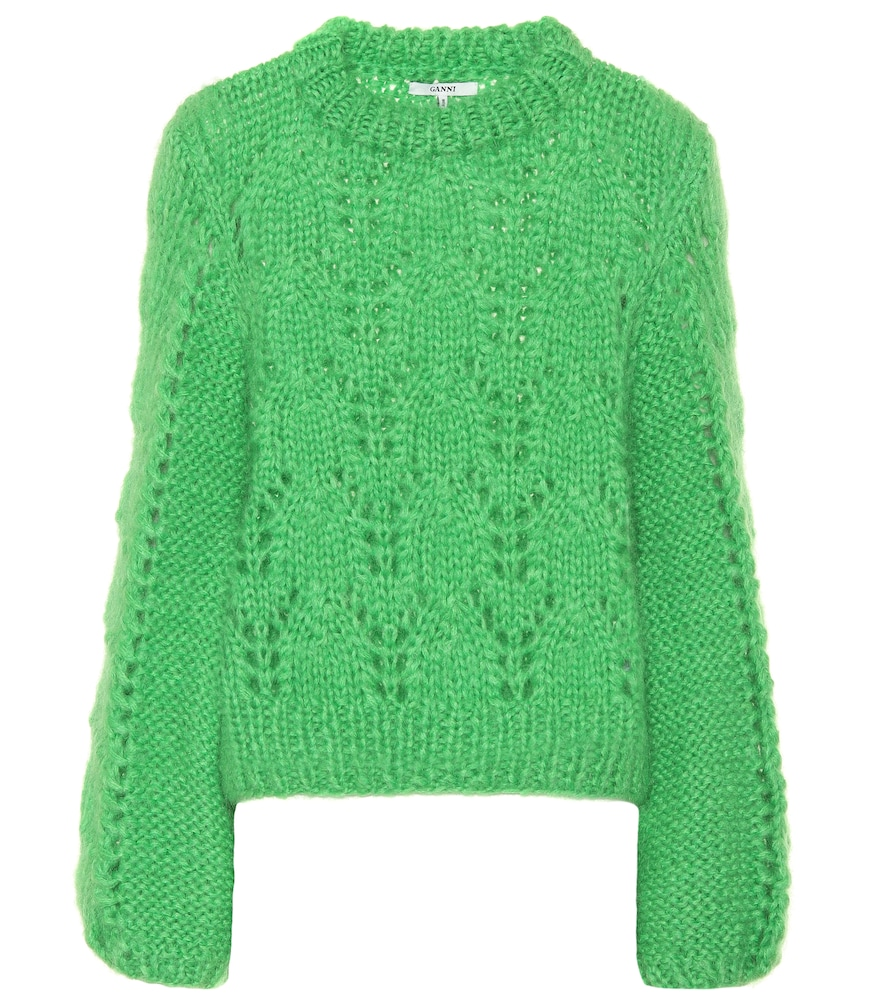 green Julliard wool mohair-blend jumper