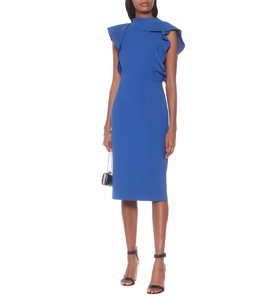 Ruffled stretch-wool dress by Oscar de la Renta