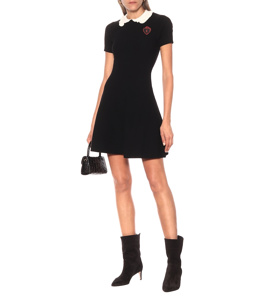 Appliquéd stretch-knit minidress by REDValentino