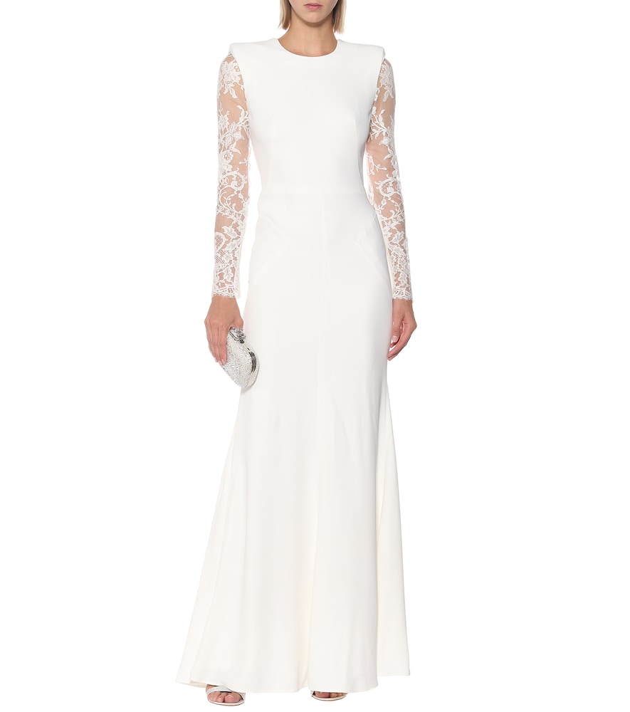 Cr?e and floral-lace dress by Alexander McQueen