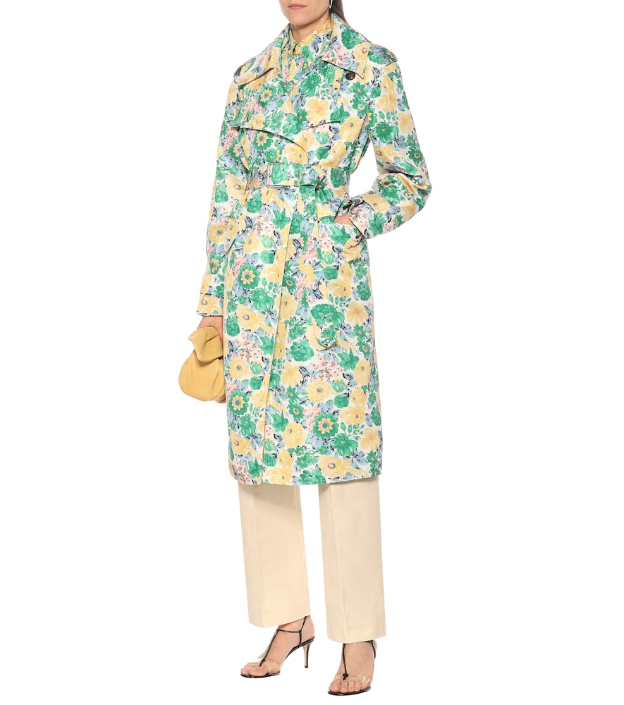 Floral satin trench coat by Plan C
