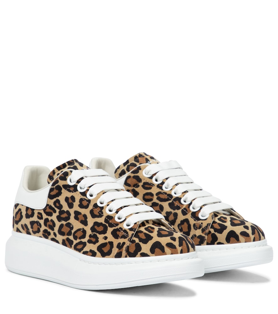 Oversized leopard-print leather sneakers