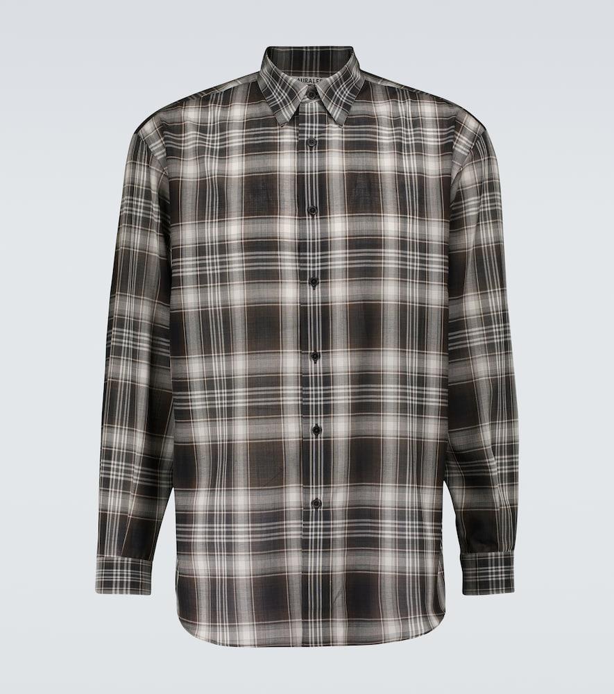Checked wool-blend shirt