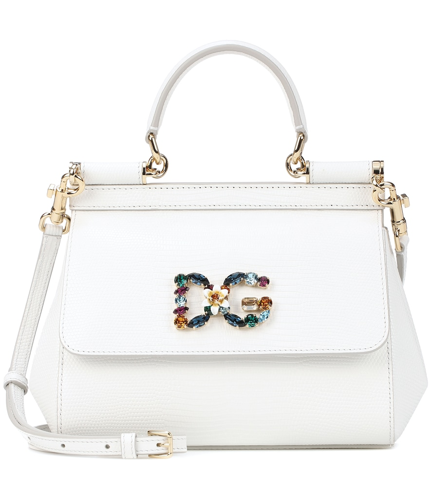 Medium Calfskin Sicily Bag With Iguana Print And Dg Crystal Logo Patch in White