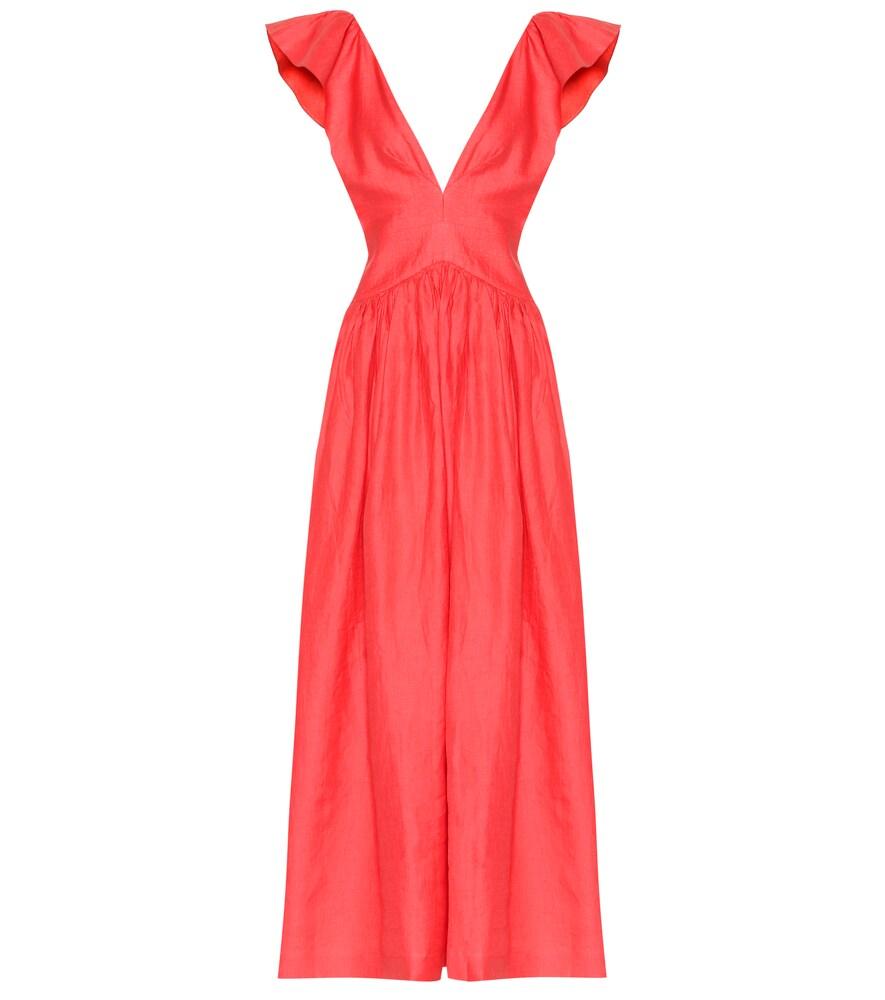 KALITA Persephone Linen Maxi Dress in Red