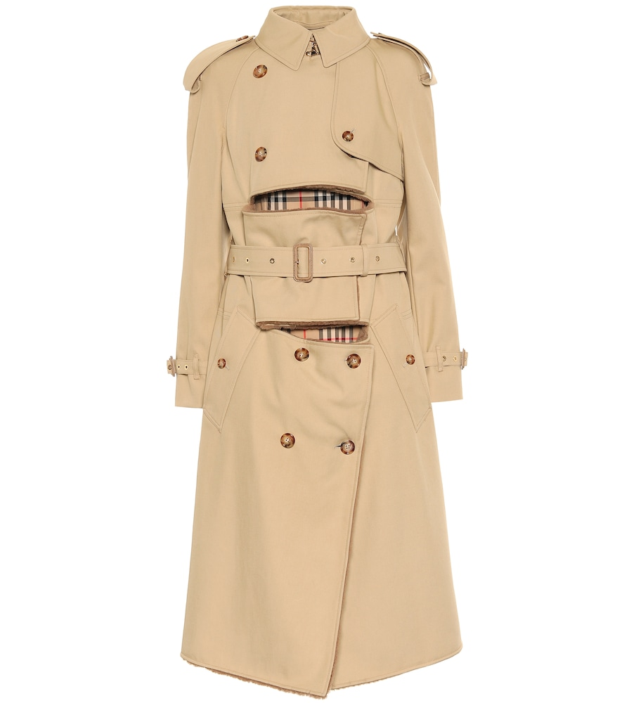 Shearling-trimmed trench coat by Burberry