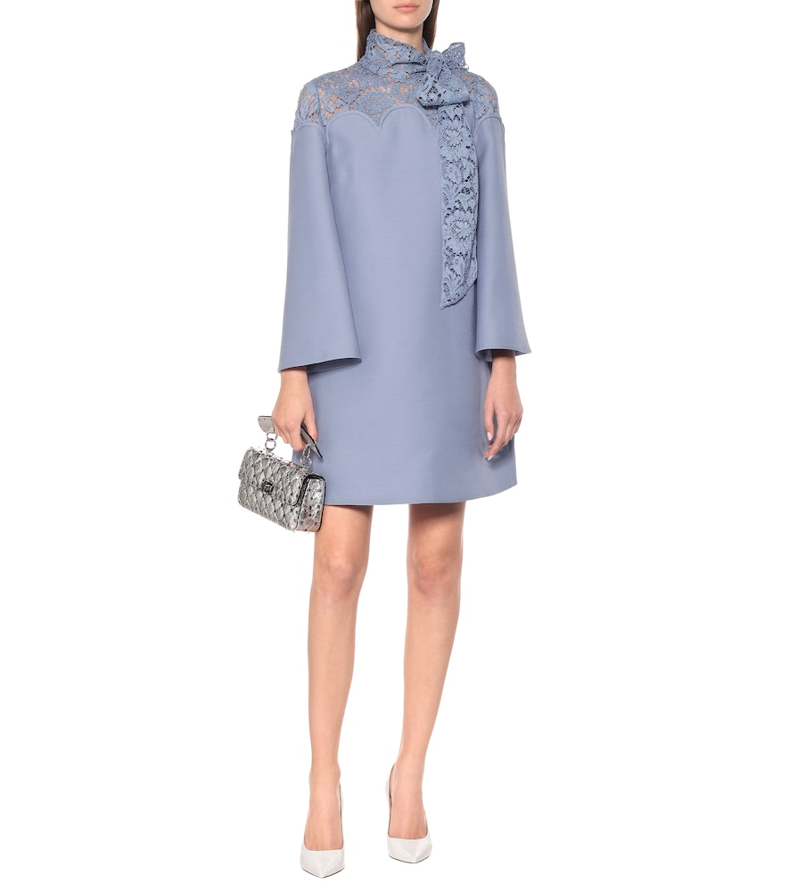 Lace and cr?e minidress by Valentino
