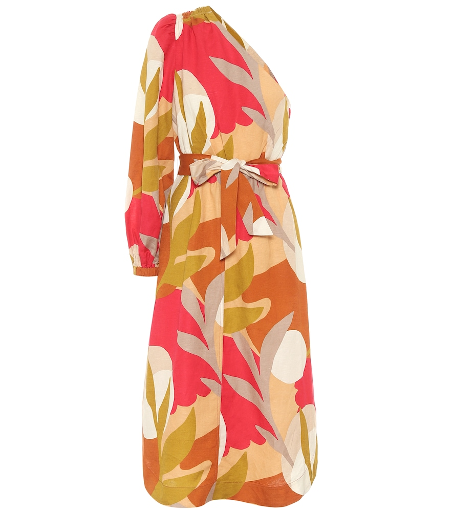 Robe Sangria asymétrique en lin mélangé
