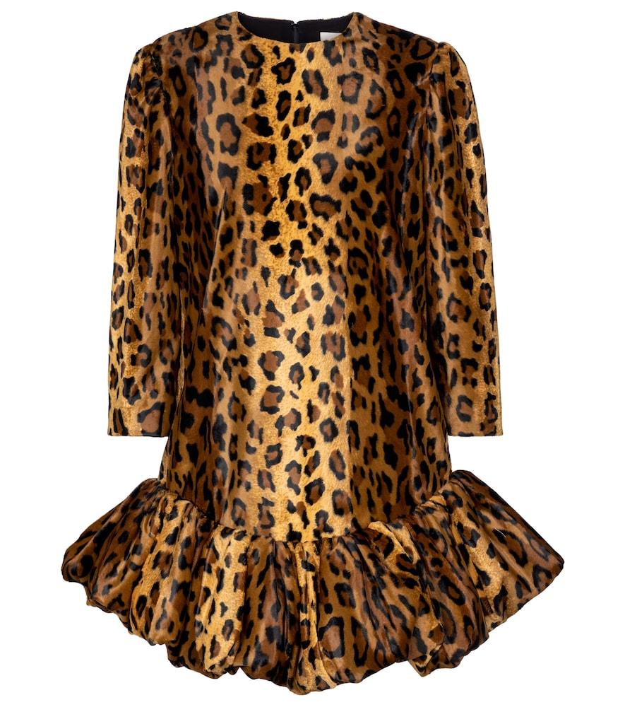 Lorie cheetah-print velvet minidress by KHAITE