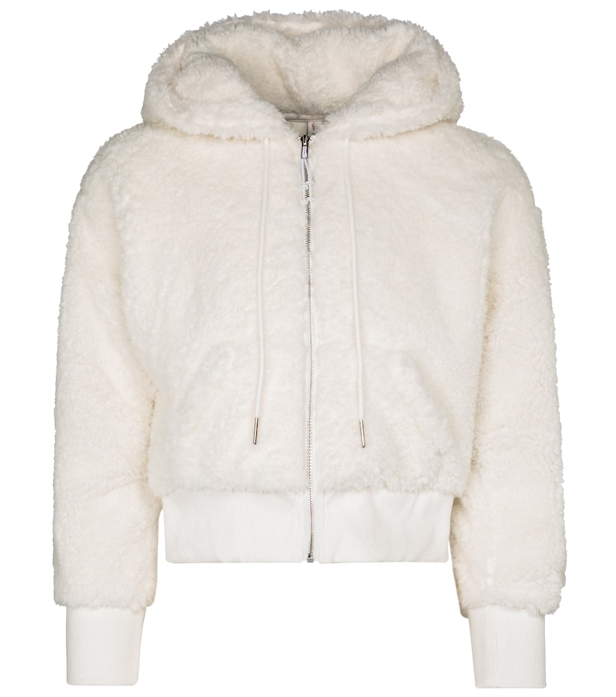 Shrunken cropped faux fur hoodie