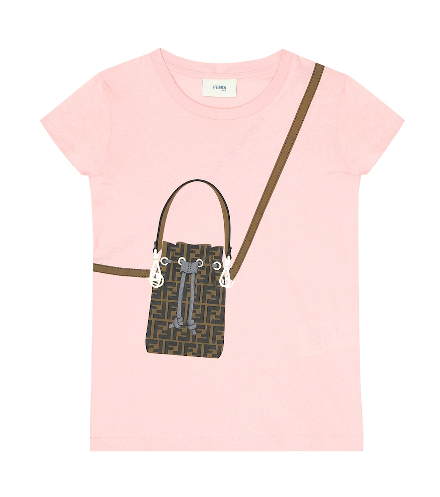 Fendi Kids' Printed Cotton-jersey T-shirt In Pink