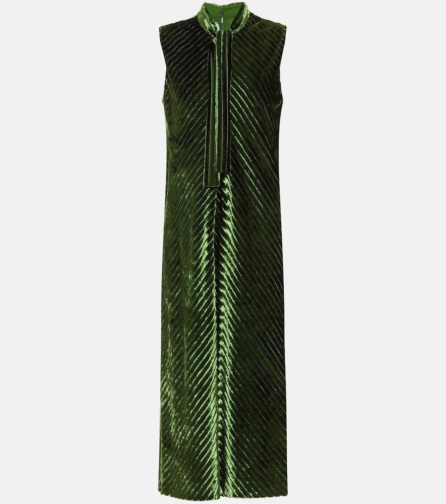 Robe longue à col lavallière en velours - Prada - Modalova