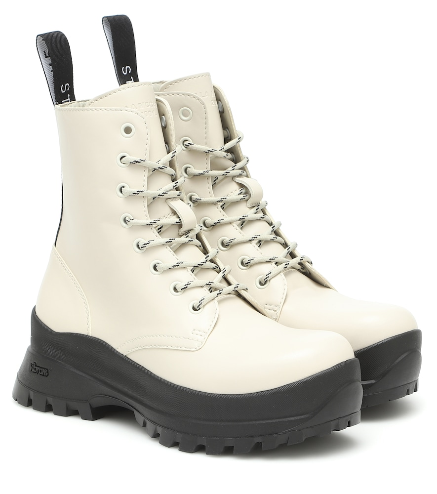 STELLA MCCARTNEY TRACE FAUX LEATHER COMBAT BOOTS