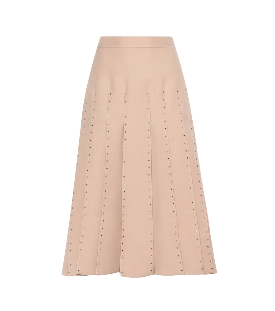 Embellished wool and silk skirt